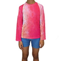 Abstract Red And Gold Ink Blot Gradient Kids  Long Sleeve Swimwear