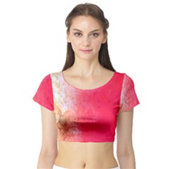 Abstract Red And Gold Ink Blot Gradient Short Sleeve Crop Top (tight Fit)