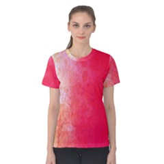 Abstract Red And Gold Ink Blot Gradient Women s Cotton Tee