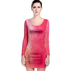 Abstract Red And Gold Ink Blot Gradient Long Sleeve Bodycon Dress