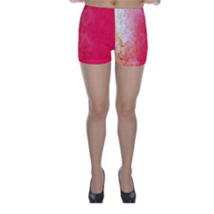 Abstract Red And Gold Ink Blot Gradient Skinny Shorts