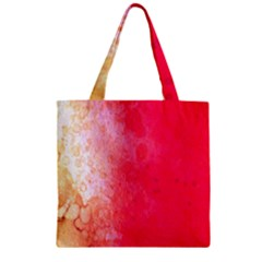 Abstract Red And Gold Ink Blot Gradient Zipper Grocery Tote Bag