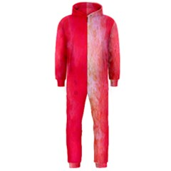 Abstract Red And Gold Ink Blot Gradient Hooded Jumpsuit (men)
