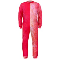 Abstract Red And Gold Ink Blot Gradient OnePiece Jumpsuit (Men)