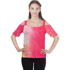Abstract Red And Gold Ink Blot Gradient Women s Cutout Shoulder Tee