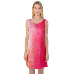 Abstract Red And Gold Ink Blot Gradient Sleeveless Satin Nightdress