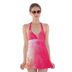 Abstract Red And Gold Ink Blot Gradient Halter Swimsuit Dress