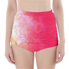 Abstract Red And Gold Ink Blot Gradient High Waisted Bikini Bottoms