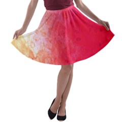 Abstract Red And Gold Ink Blot Gradient A Line Skater Skirt