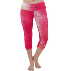 Abstract Red And Gold Ink Blot Gradient Capri Yoga Leggings
