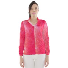 Abstract Red And Gold Ink Blot Gradient Wind Breaker (women)
