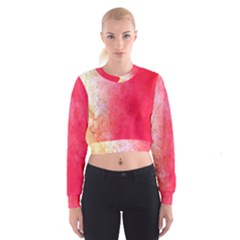 Abstract Red And Gold Ink Blot Gradient Women s Cropped Sweatshirt