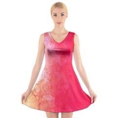 Abstract Red And Gold Ink Blot Gradient V Neck Sleeveless Skater Dress