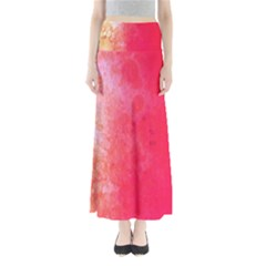 Abstract Red And Gold Ink Blot Gradient Maxi Skirts