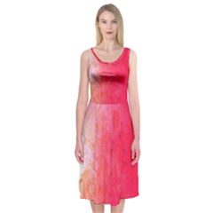 Abstract Red And Gold Ink Blot Gradient Midi Sleeveless Dress
