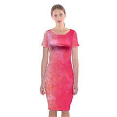 Abstract Red And Gold Ink Blot Gradient Classic Short Sleeve Midi Dress