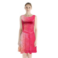 Abstract Red And Gold Ink Blot Gradient Sleeveless Chiffon Waist Tie Dress