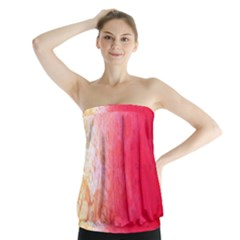 Abstract Red And Gold Ink Blot Gradient Strapless Top