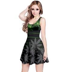 Gary Dark Black Cannabis Marijuana Reversible Sleeveless Dress