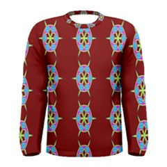 Geometric Seamless Pattern Digital Computer Graphic Wallpaper Men s Long Sleeve Tee