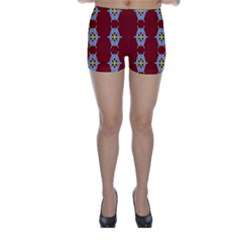 Geometric Seamless Pattern Digital Computer Graphic Wallpaper Skinny Shorts