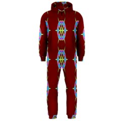 Geometric Seamless Pattern Digital Computer Graphic Wallpaper Hooded Jumpsuit (Men)