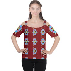 Geometric Seamless Pattern Digital Computer Graphic Wallpaper Women s Cutout Shoulder Tee