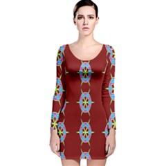 Geometric Seamless Pattern Digital Computer Graphic Wallpaper Long Sleeve Velvet Bodycon Dress