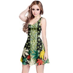 Black Pattern Stripes Cannabis Marijuana Reversible Sleeveless Dress
