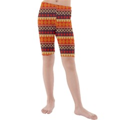 Abstract Lines Seamless Pattern Kids  Mid Length Swim Shorts