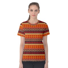 Abstract Lines Seamless Pattern Women s Cotton Tee