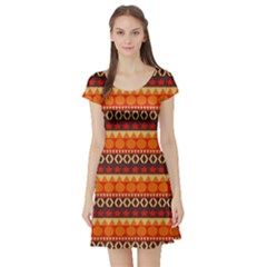 Abstract Lines Seamless Pattern Short Sleeve Skater Dress