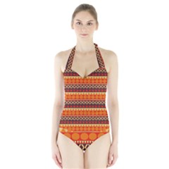 Abstract Lines Seamless Pattern Halter Swimsuit