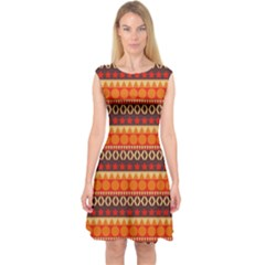 Abstract Lines Seamless Pattern Capsleeve Midi Dress