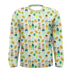 Football Kids Children Pattern Men s Long Sleeve Tee