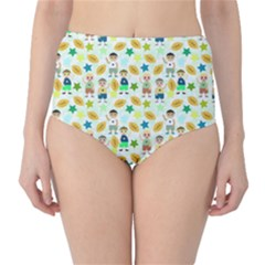 Football Kids Children Pattern High Waist Bikini Bottoms