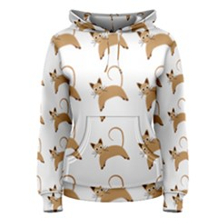 Cute Cats Seamless Wallpaper Background Pattern Women s Pullover Hoodie