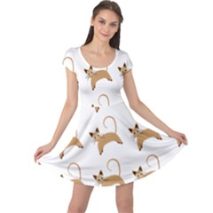 Cute Cats Seamless Wallpaper Background Pattern Cap Sleeve Dresses