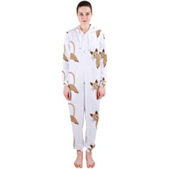 Cute Cats Seamless Wallpaper Background Pattern Hooded Jumpsuit (Ladies)