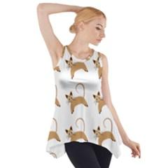 Cute Cats Seamless Wallpaper Background Pattern Side Drop Tank Tunic