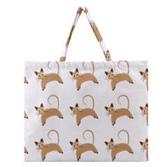 Cute Cats Seamless Wallpaper Background Pattern Zipper Large Tote Bag