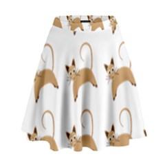 Cute Cats Seamless Wallpaper Background Pattern High Waist Skirt