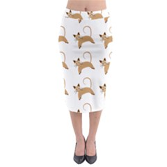 Cute Cats Seamless Wallpaper Background Pattern Midi Pencil Skirt