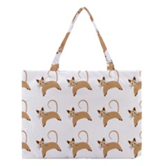 Cute Cats Seamless Wallpaper Background Pattern Medium Tote Bag
