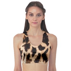 Yellow And Brown Spots On Giraffe Skin Texture Sports Bra