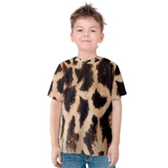 Yellow And Brown Spots On Giraffe Skin Texture Kids  Cotton Tee