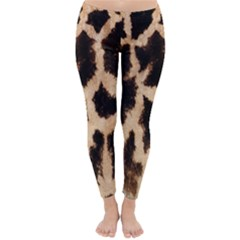 Yellow And Brown Spots On Giraffe Skin Texture Classic Winter Leggings