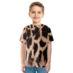 Yellow And Brown Spots On Giraffe Skin Texture Kids  Sport Mesh Tee