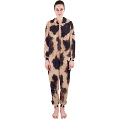 Yellow And Brown Spots On Giraffe Skin Texture Hooded Jumpsuit (Ladies)