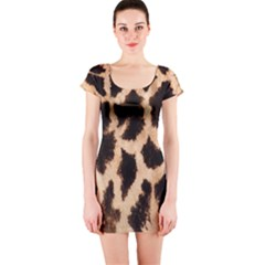 Yellow And Brown Spots On Giraffe Skin Texture Short Sleeve Bodycon Dress